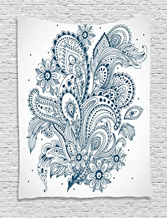 Amazon Com Ambesonne Henna Tapestry Doodle Style Floral