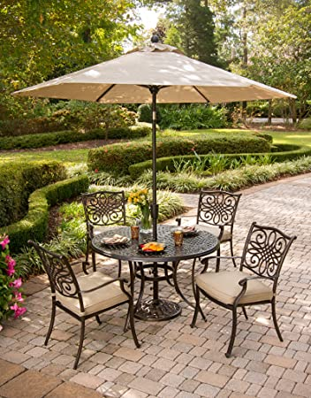 Hanover TRADITIONS5PC-SU 5 Piece Traditions Deep Cushioned Dining Set with Umbrella Outdoor Furniture, Tan