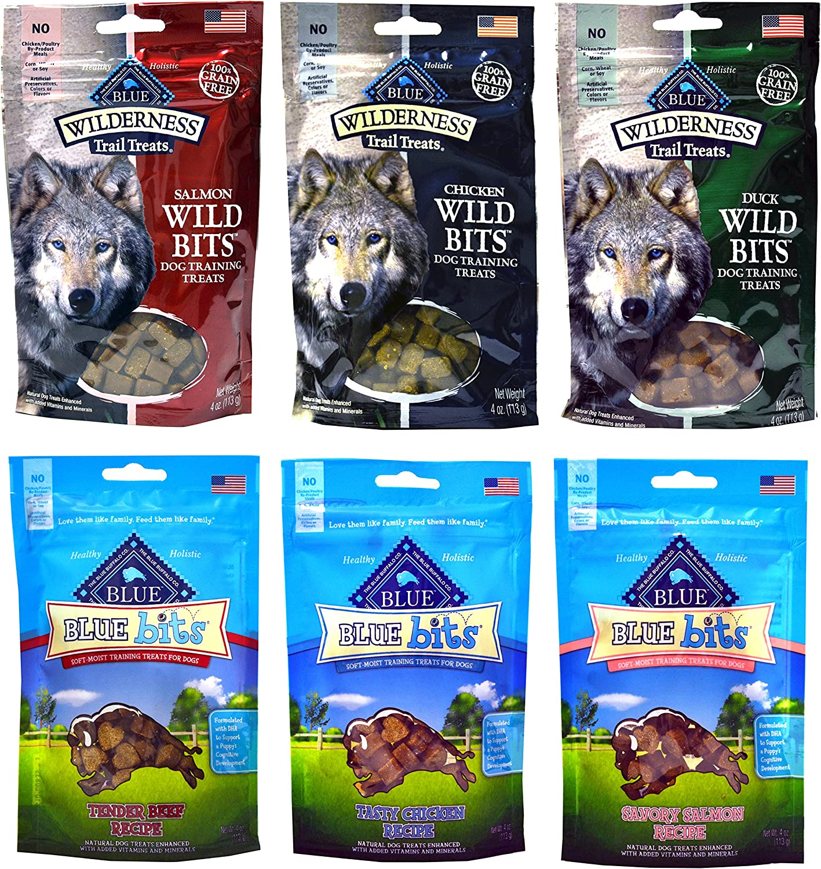 Blue Buffalo Grain-Free Dog Treats – 3 Wilderness Wild Bits Flavors 3 Blue Bits Flavors – 4 Ounces Each 6 Total Pouches