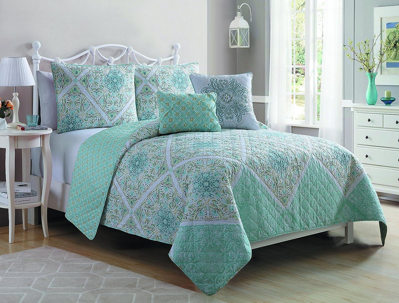 com vcny piece natasha quilt set full queen multicolor com vcny 5 piece natasha quilt set full queen multicolor home kitchen