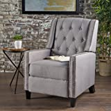 izaak tufted back fabric recliner chair light grey