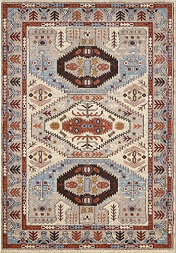 GLORY RUGS Area Rug Tribal Marisela Vintage South West Carpet Traditional Texture for Bedroom Living Dining Room 7316 Gabbeh Collection 8×10, Cream