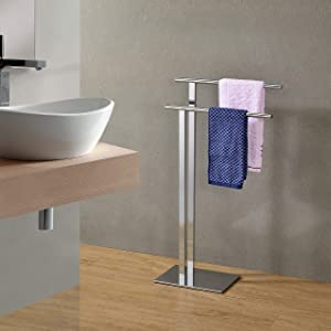 Kings Brand Furniture - Marinali Metal Freestanding Bathroom Towel Rack Stand, Chrome