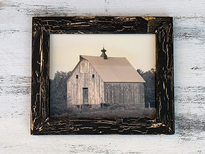 Amazon.com: Old Barn Photo in Rustic Handmade Black Wood Frame ...