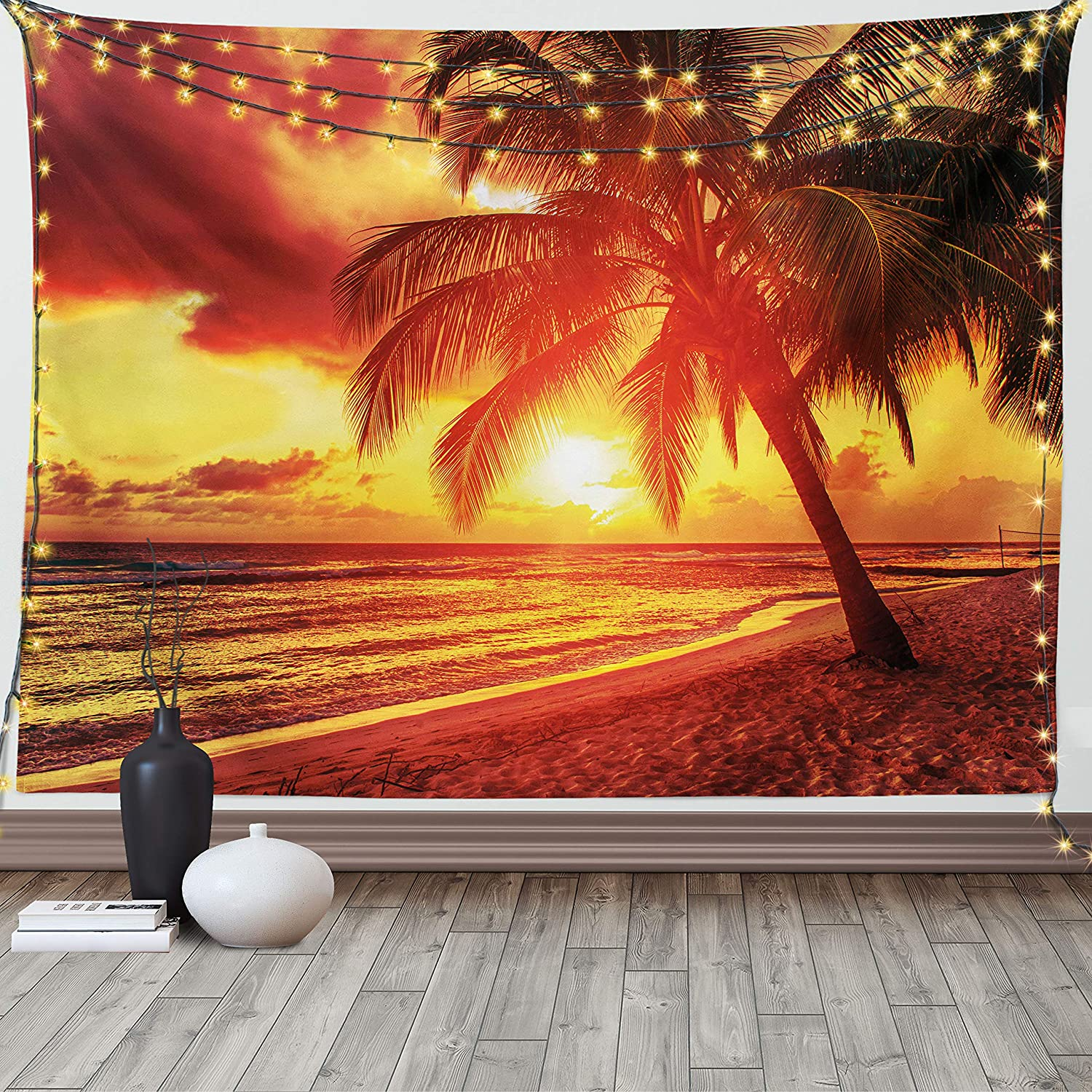Lunarable Beach Tapestry King Size, Sunset at The Calm Beach with Palms Exotic Caribbean Island Barbados Scenic View, Wall Hanging Bedspread Bed Cover Wall Decor, 104
