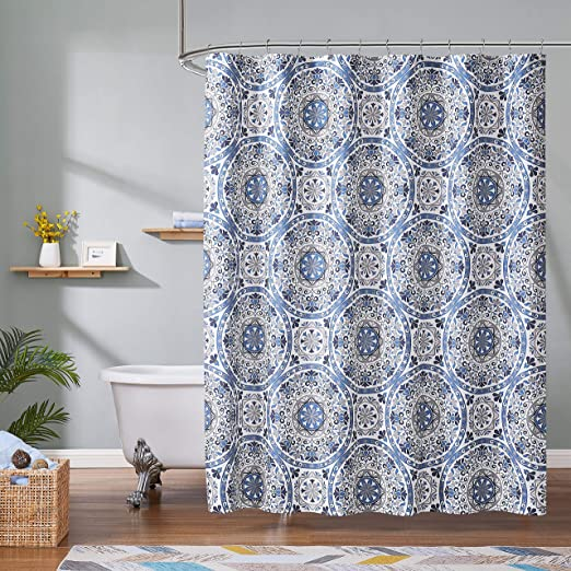 Romantex Medallion Printed Fabric Shower Curtains 72 W x 72 L for Bathroom,Decorative Blue and Grey Floral Curtain for Bathtubs//Hotel//Spa,Hookless,1 Panel