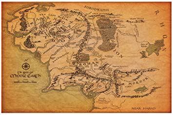 Amazon.com: Map of Middle Earth from The Lord of the Rings and The ...