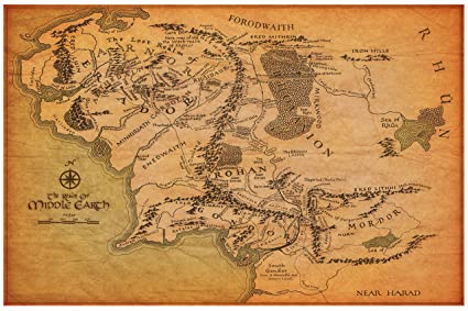 Amazon.com: Map of Middle Earth from The Lord of the Rings and The on