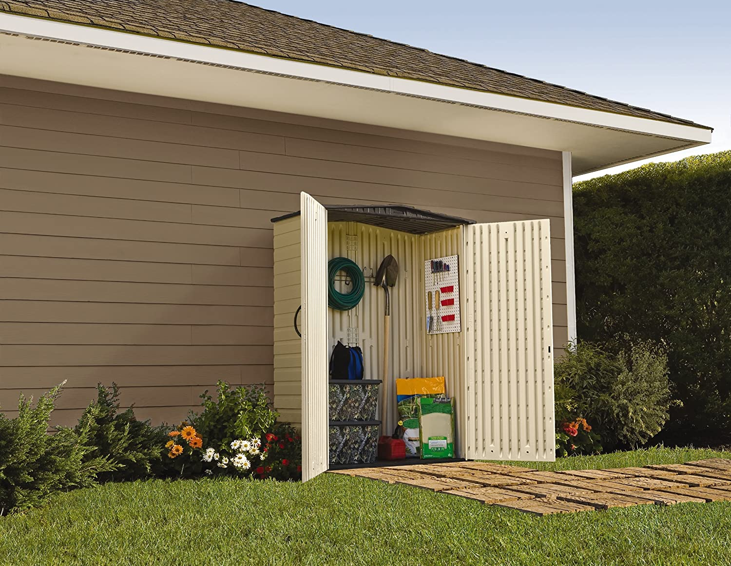 wid p sheds rubbermaid x prod storage outdoor qlt vertical large shed hei