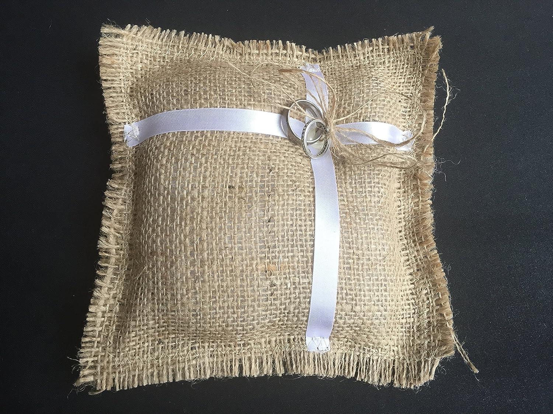 Ring Bearer Pillow - Wedding ring pillow, Burlap Wedding Ring Bearer pillow, Wedding Party, Wedding Ceremony - Original Design