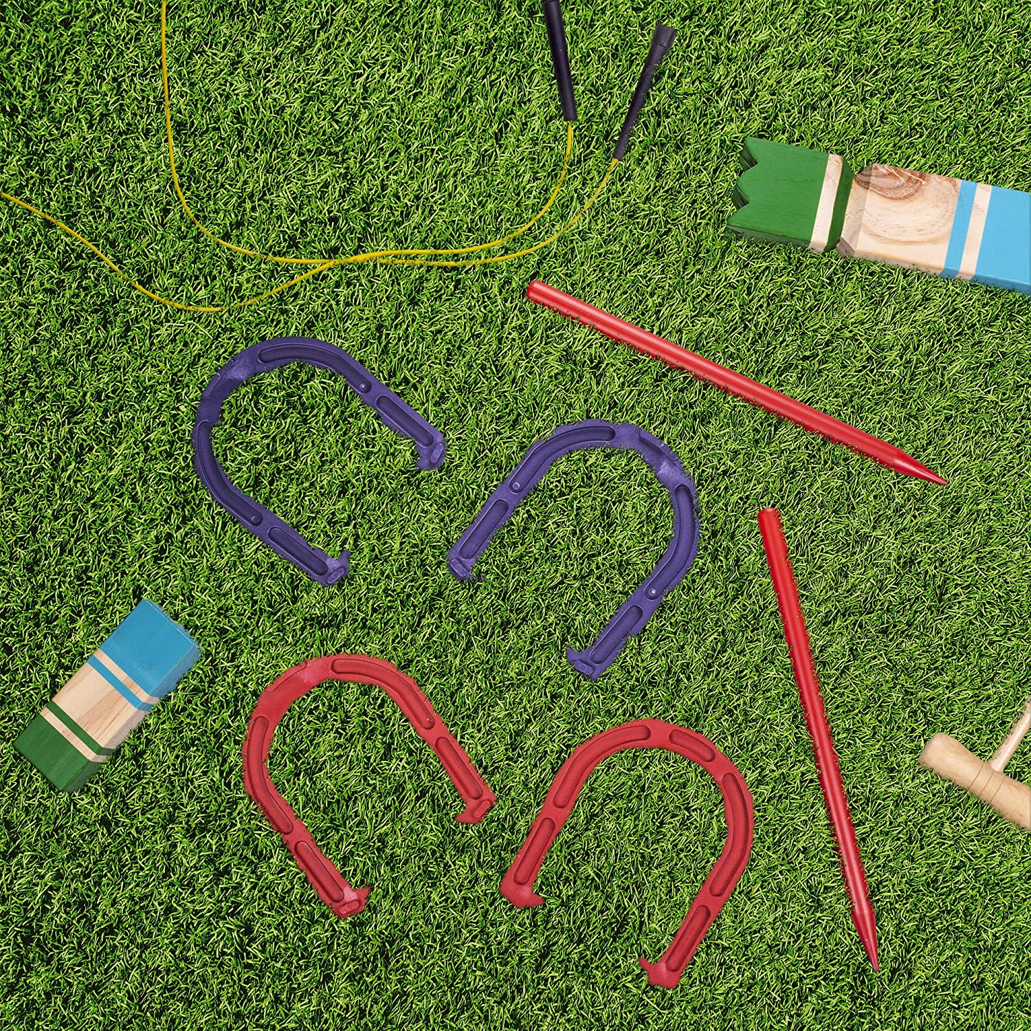 Crown Sporting Goods Deluxe Indoor and Outdoor Horseshoe Game Set : Sports & Outdoors