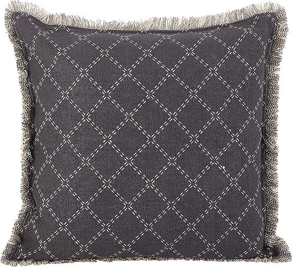 Amazon Com Saro Lifestyle Diamond Design Fringe Trim Cotton Down Filled Throw Pillow 20 X 20 Slate Home Kitchen
