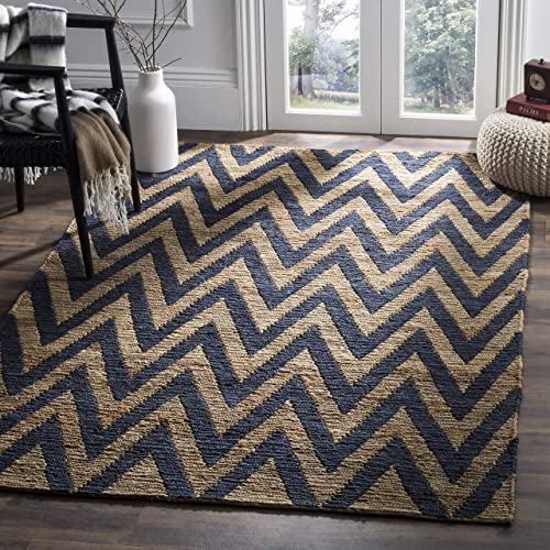 Safavieh Organica Collection ORG515B Hand-Knotted Blue and Natural Wool Area Rug 9' x 12'