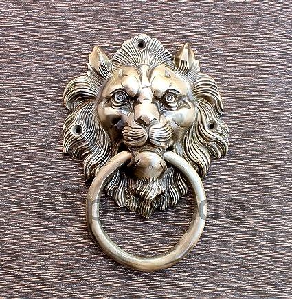 ESplanade Lion Mouth Metal Door Knocker, Yellow