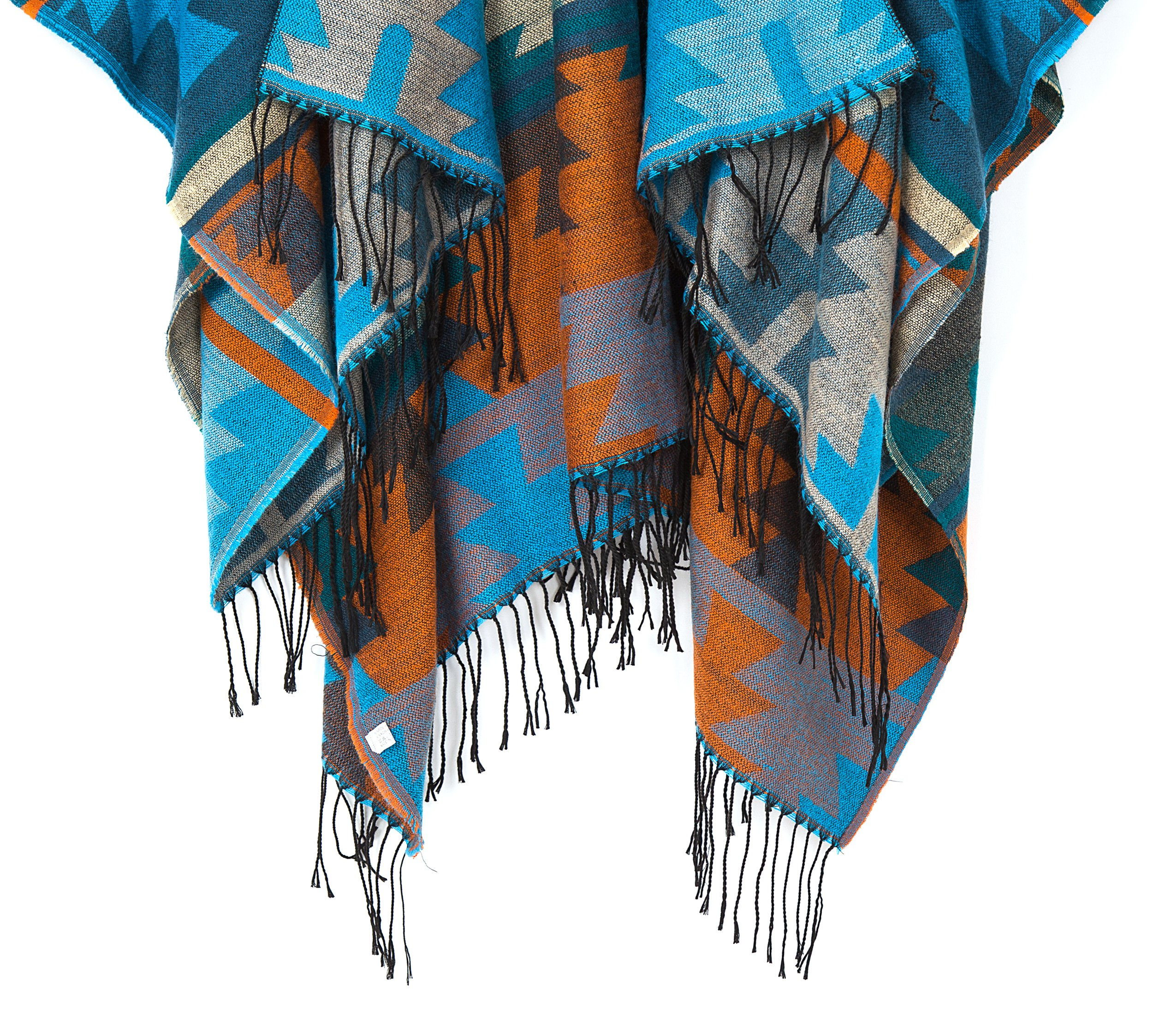 Urban CoCo Women's Printed Tassel Open front Poncho Cape Cardigan Wrap Shawl (Series 4-Blue) by Urban CoCo (Image #5)