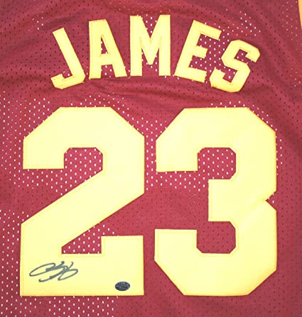 05e27f4cc8c3 Lebron James Cleveland Cavaliers Cavs Autographed Wine and Gold  23 Jersey  PAAS COA