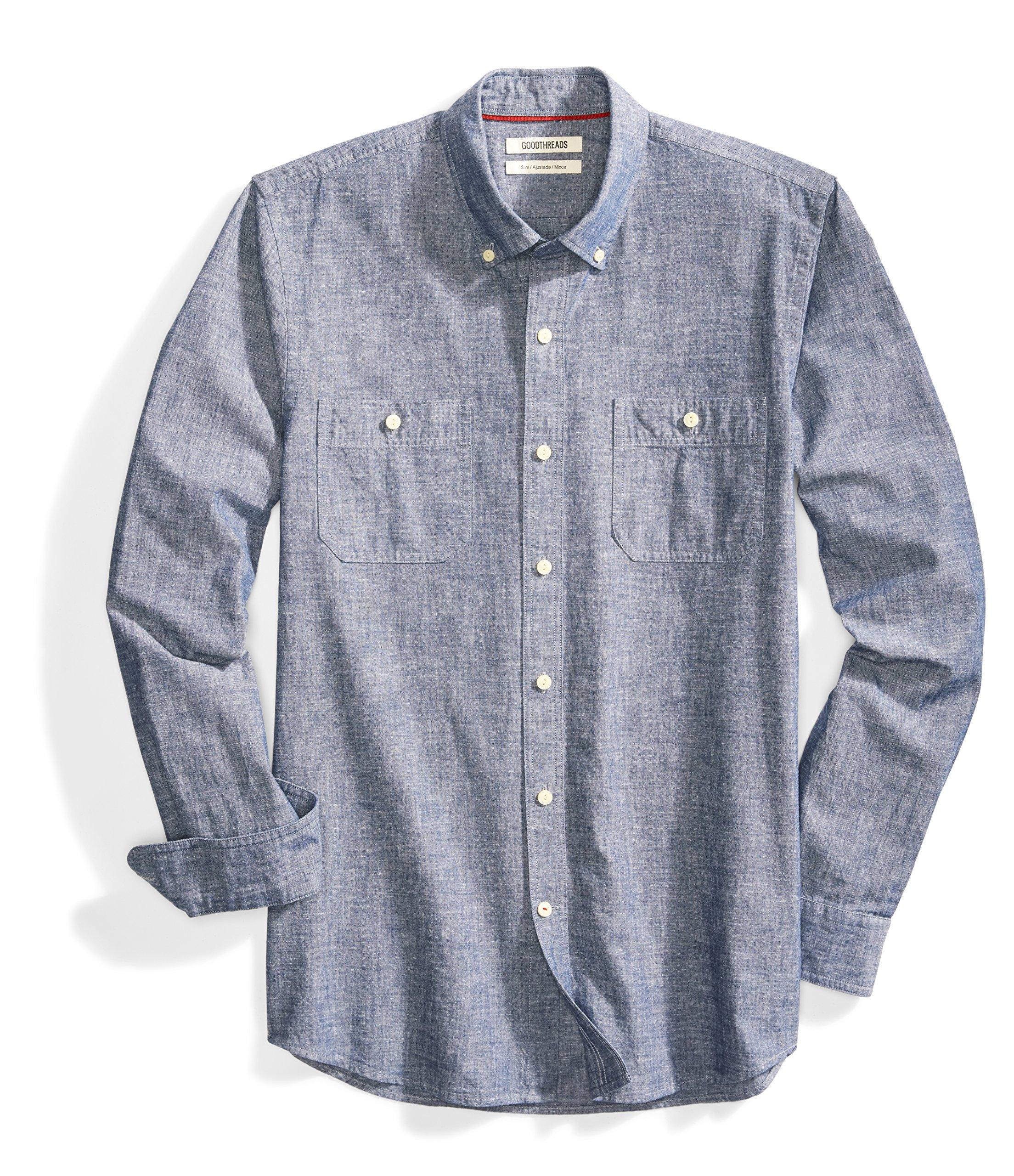 Goodthreads Men's Slim-Fit Long-Sleeve Chambray Shirt, Navy, Medium