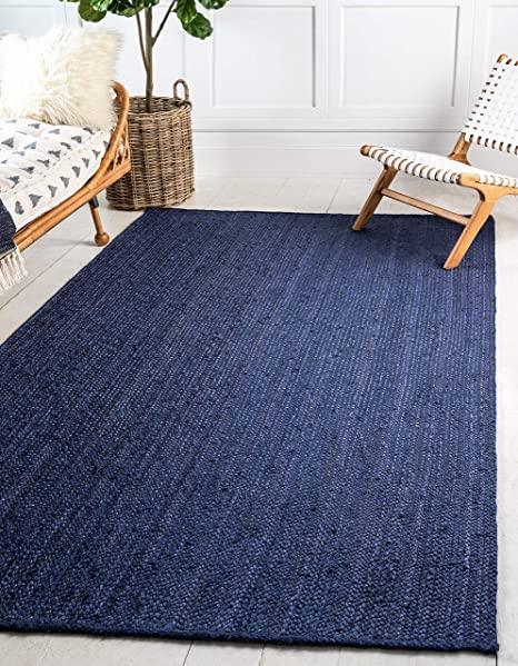 Amazon Com Unique Loom Braided Jute Collection Hand Woven Natural Fibers Navy Blue Dark Blue Area Rug 5 0 X 8 0 Furniture Decor