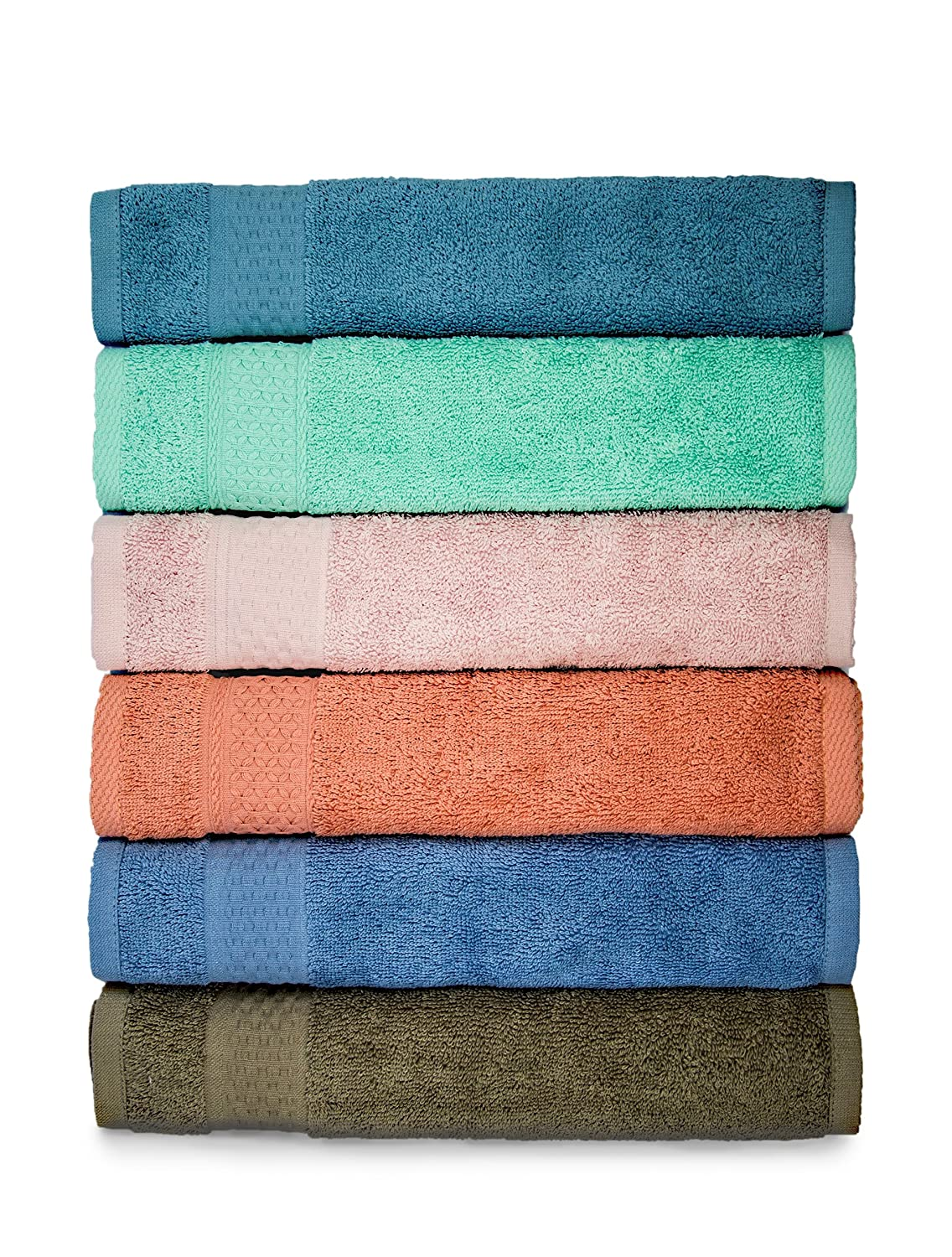 Cleanbear Cotton Bath Washcloths, 6 Pieces, 6 Colors. (Greengage,Baby pink,Brown,Blue grey,Rust,Volet)