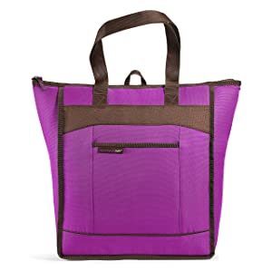 Rachael Ray ChillOut Thermal Tote Bag for Cold or Hot Food, Insulated, Reusable, Purple