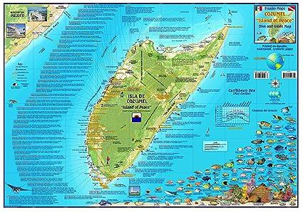 Amazon.com : Franko Maps Cozumel Mexico Dive Snorkel & Adventure ...