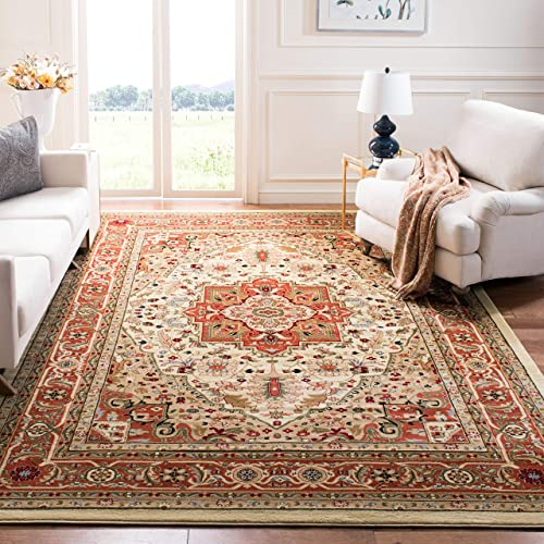 Safavieh Lyndhurst Collection LNH330R Traditional Oriental Medallion Ivory and Rust Area Rug 10' x 14'