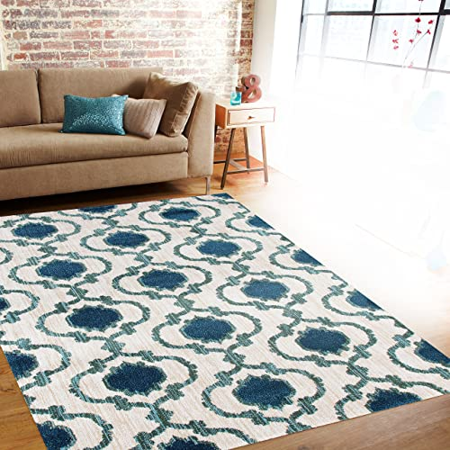 Modern Moraccan Trellis Cream/Blue Soft Area Rug 7'10″ x 10'2″ New