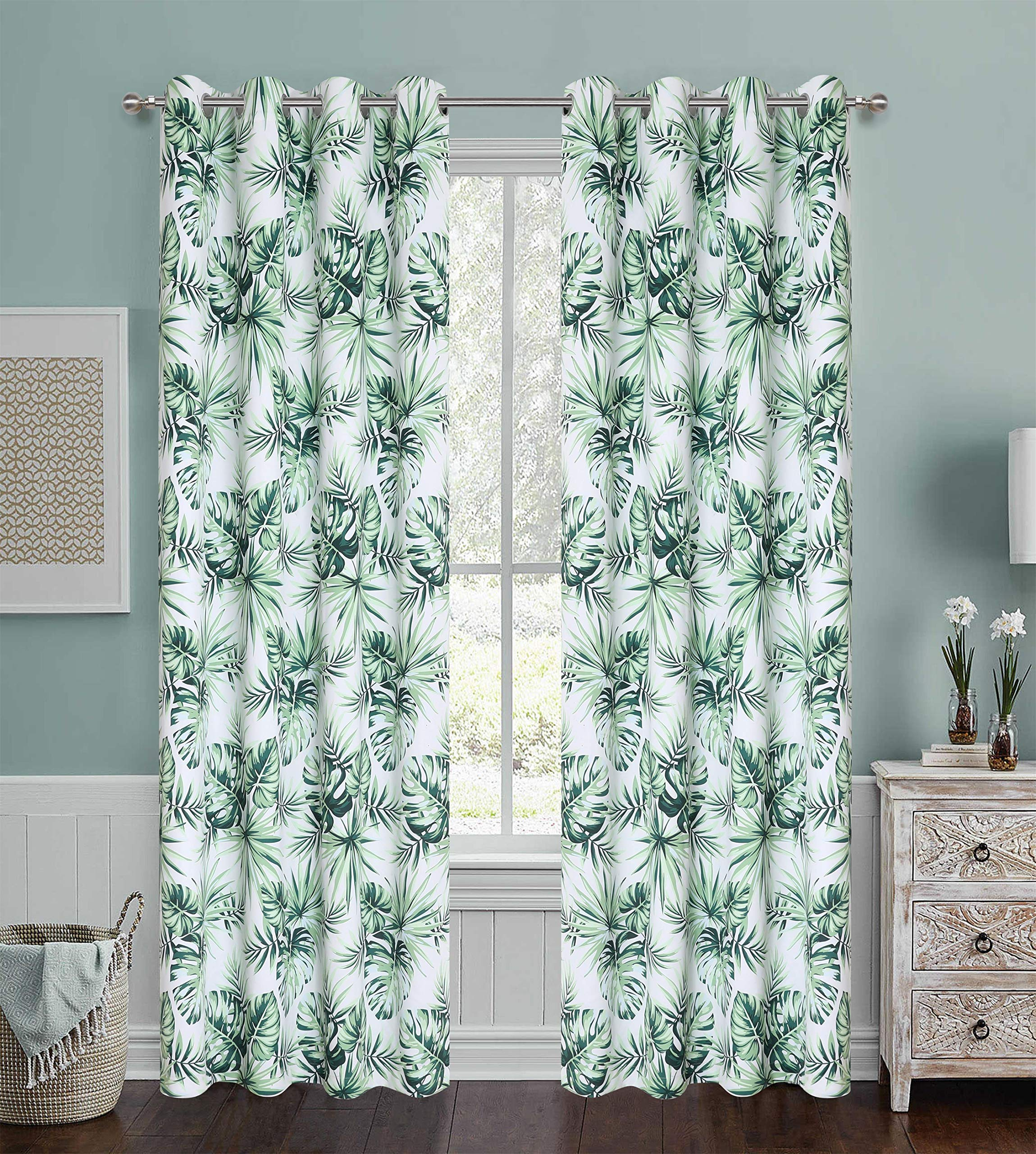 Floral Printed Blackout Curtains Spring Plant Green Digital Print Colorful Palm Leaves Home Fashion Window Draperies for Nursery Kids Heavy and Soft Room Darkening Grommet 54'' Wide by 95'' Long 1 Pair by Gold Dandelion