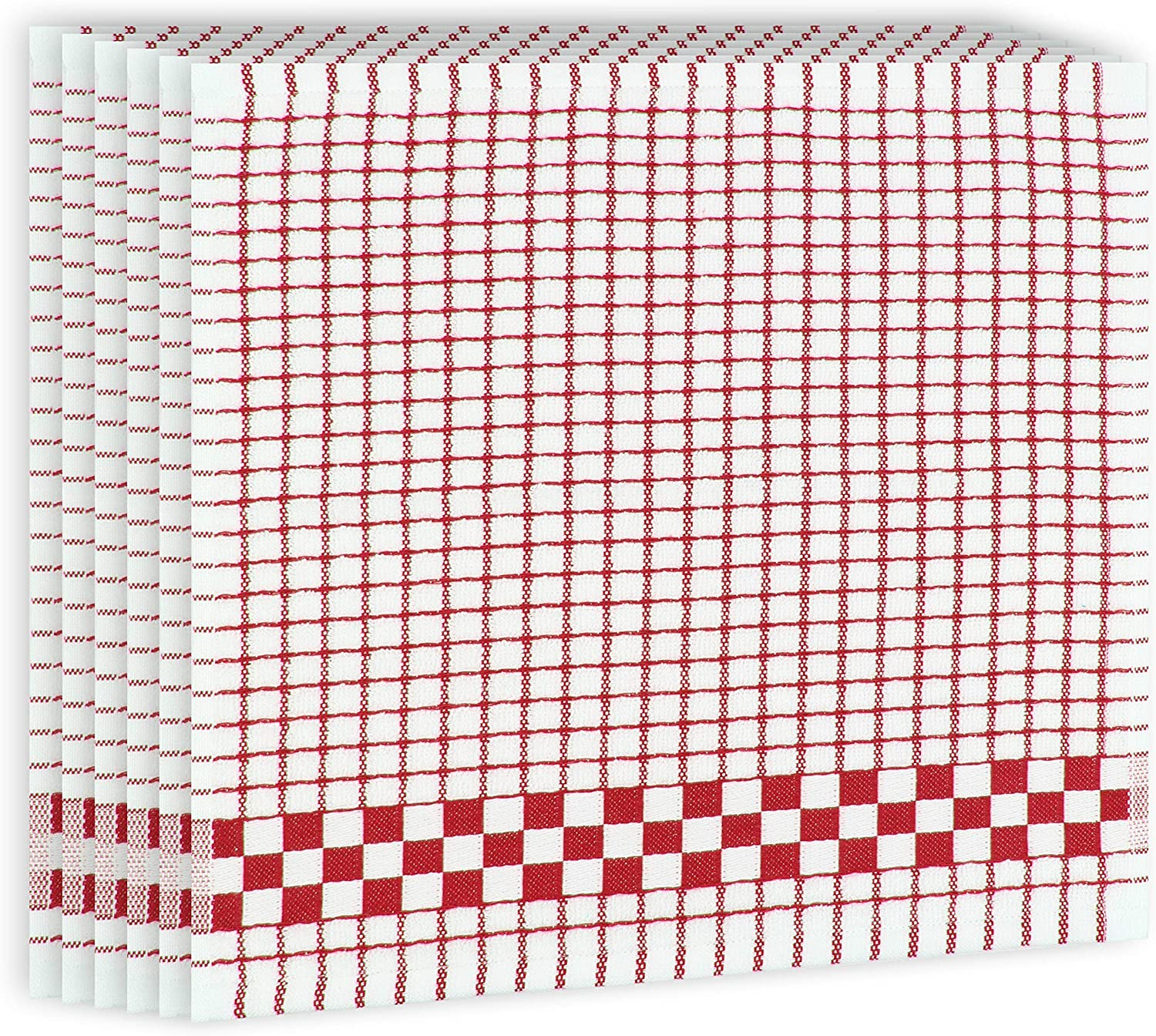 Fecido Classic Kitchen Dish Cloths with Hanging Loop (12 x 12 Inches) - Set of 6, Red