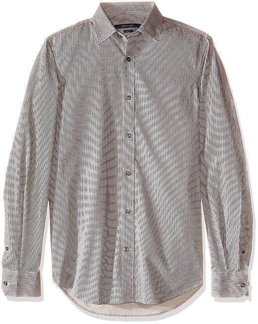 5e7bdd56f Perry Ellis Camisa de Manga Larga para Hombre, Color Negro: Amazon ...