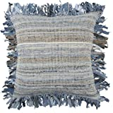 "Rizzy Home T13784 Decorative Poly Filled Throw Pillow 22"" x 22"" Blue / Brown"