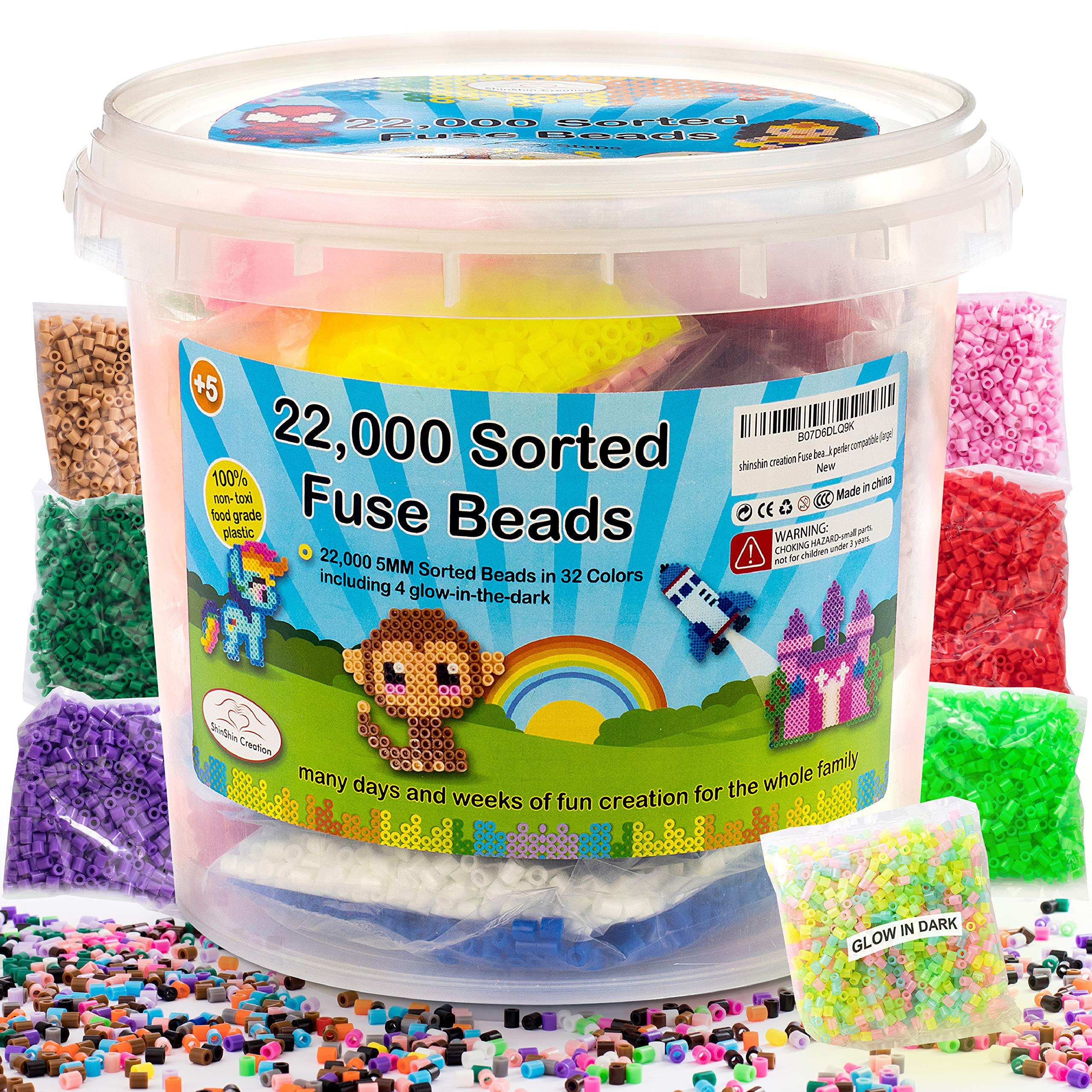 shinshin creation 22,000 Pre - Sorted Fuse Melty Beads Bucket Size 5mm 32 Colors Including Glow in The Dark Perler Compatible for Boy or Girl by shinshin creation