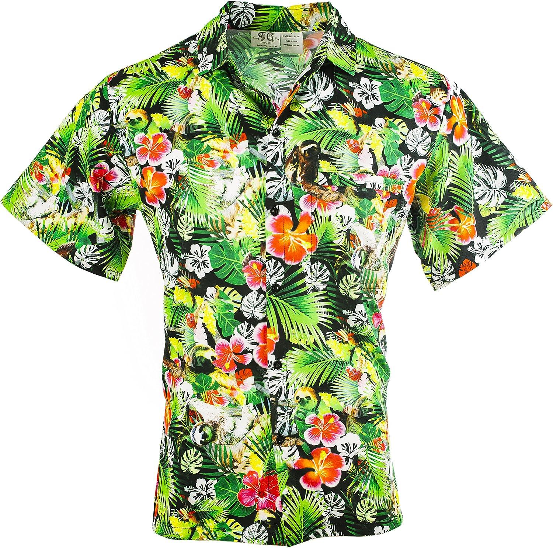 Funny Guy Mugs Mens Hawaiian Print Button Down Shirt