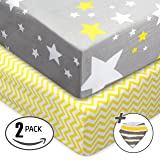 Jersey Cotton Fitted Crib Sheets, 2 Pack-100% Organic & Shrink-Resistant , Soft and Protective.Unisex Chevron & Stars-Grey & Yellow Design,Standard crib Mattress- No Rips or Holes with Use,Guaranteed!