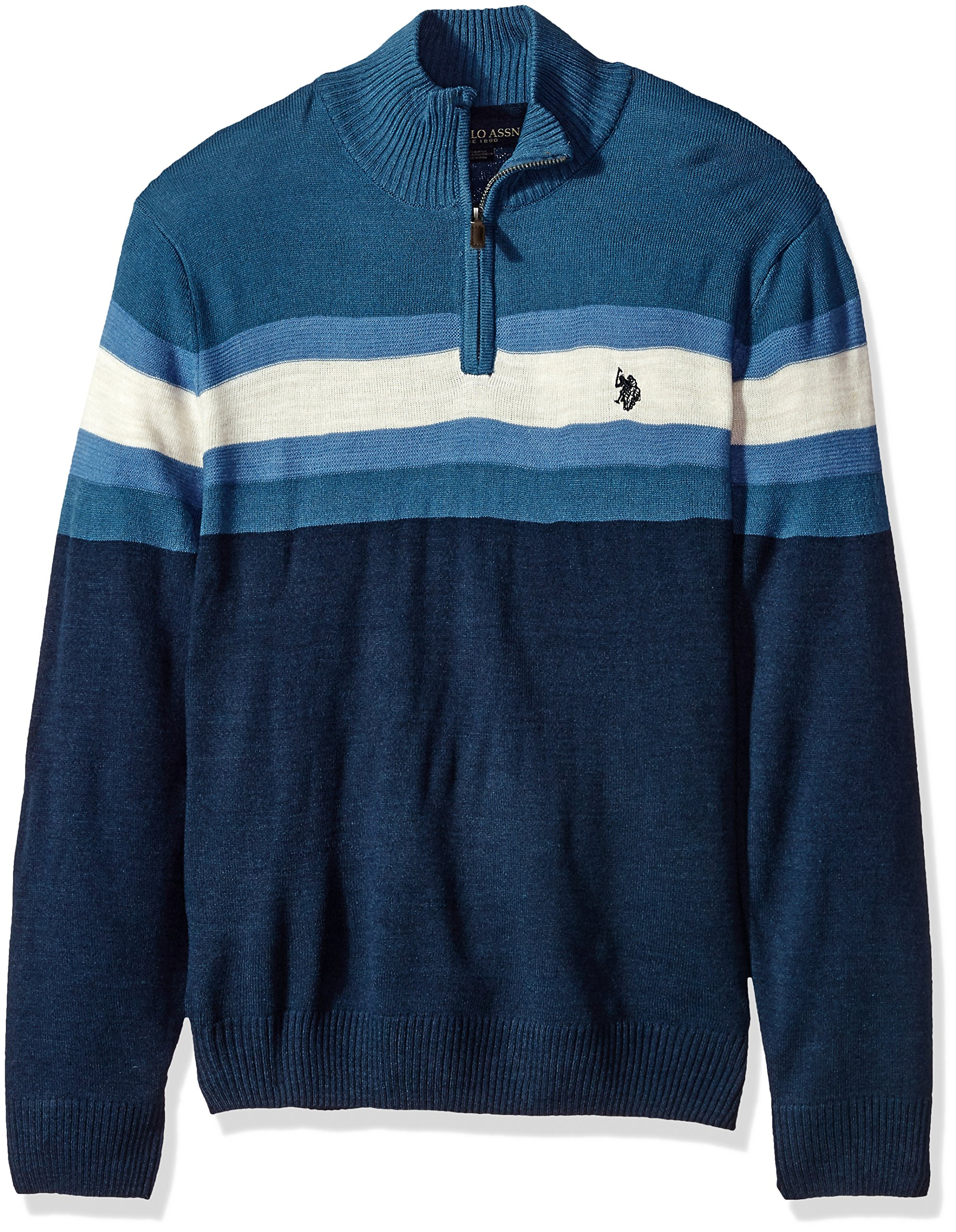 Mens Double Striped 1//4 Zip Sweater Sweater Polo Assn U.S