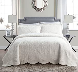 VCNY Home Westland Plush Quilted 3-Piece Bedspread Set, King, Ivory