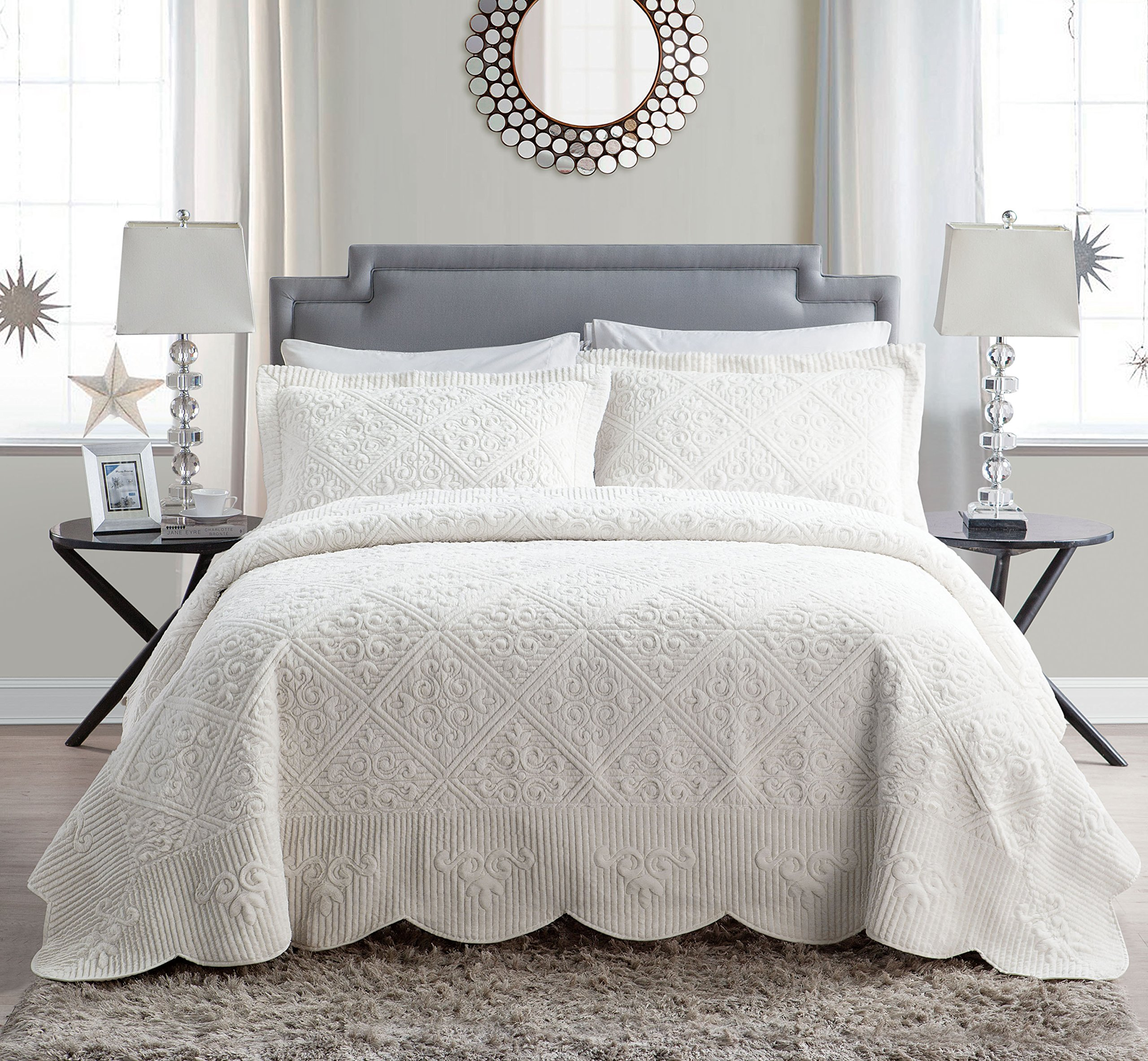 VCNY Home WS1-3BP-KING-IN-IV Westland Plush Quilted 3-Piece Bedspread Set , King, Ivory by VCNY Home