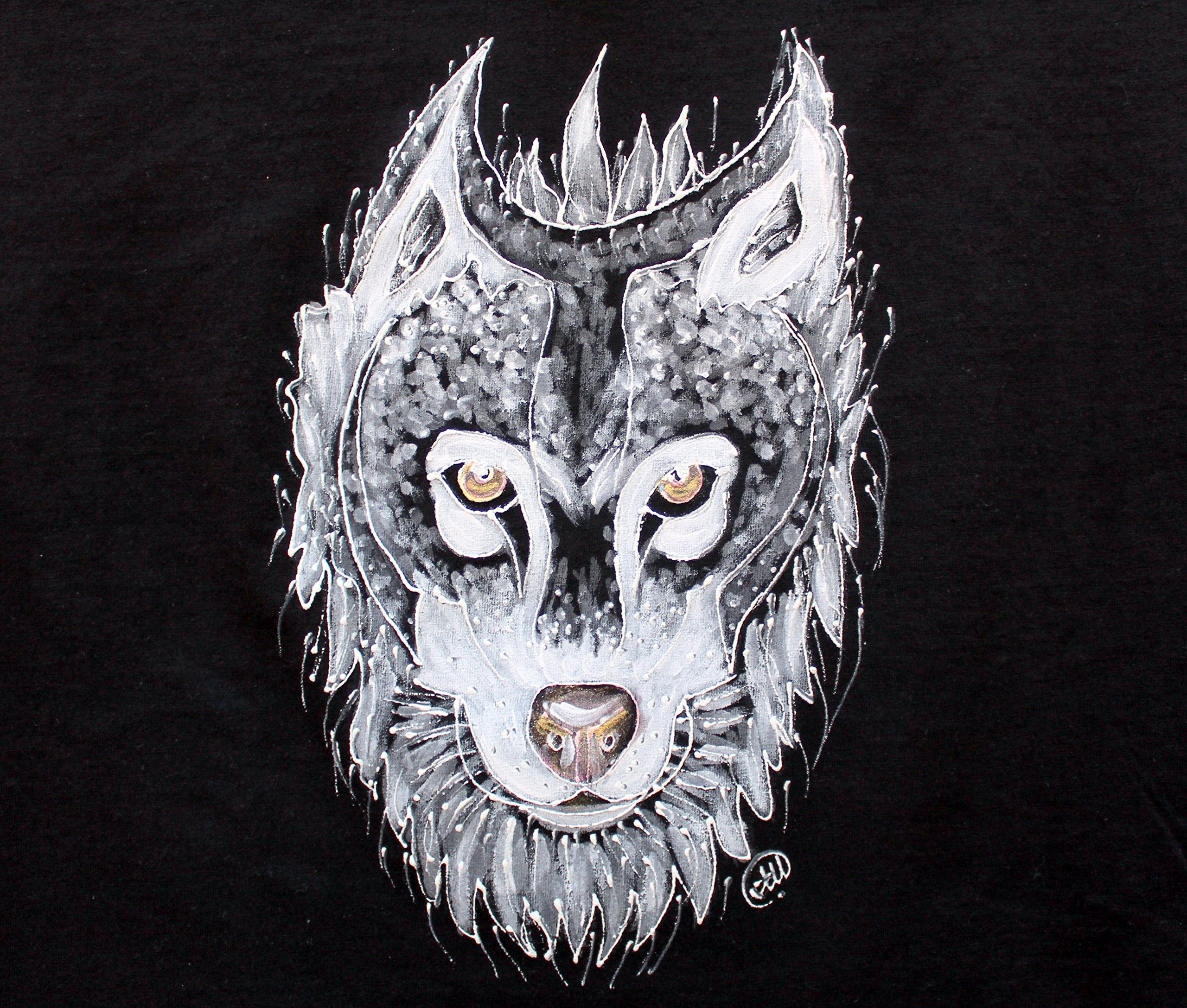 PAINTED WOLF T-SHIRT,Wolf Painting,White Wolf Black T-shirt,Wolf Design,American Apparel T-shirt,Animal Lover Tee, Wolf Tee,size XL.