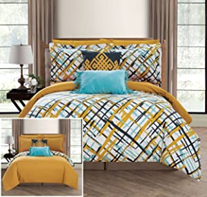 Chic Home Abstract 9 Piece Reversible Comforter Print Design Bed in a Bag-Sheet Set Decorative Pillows Shams Included Size, Full, Gold