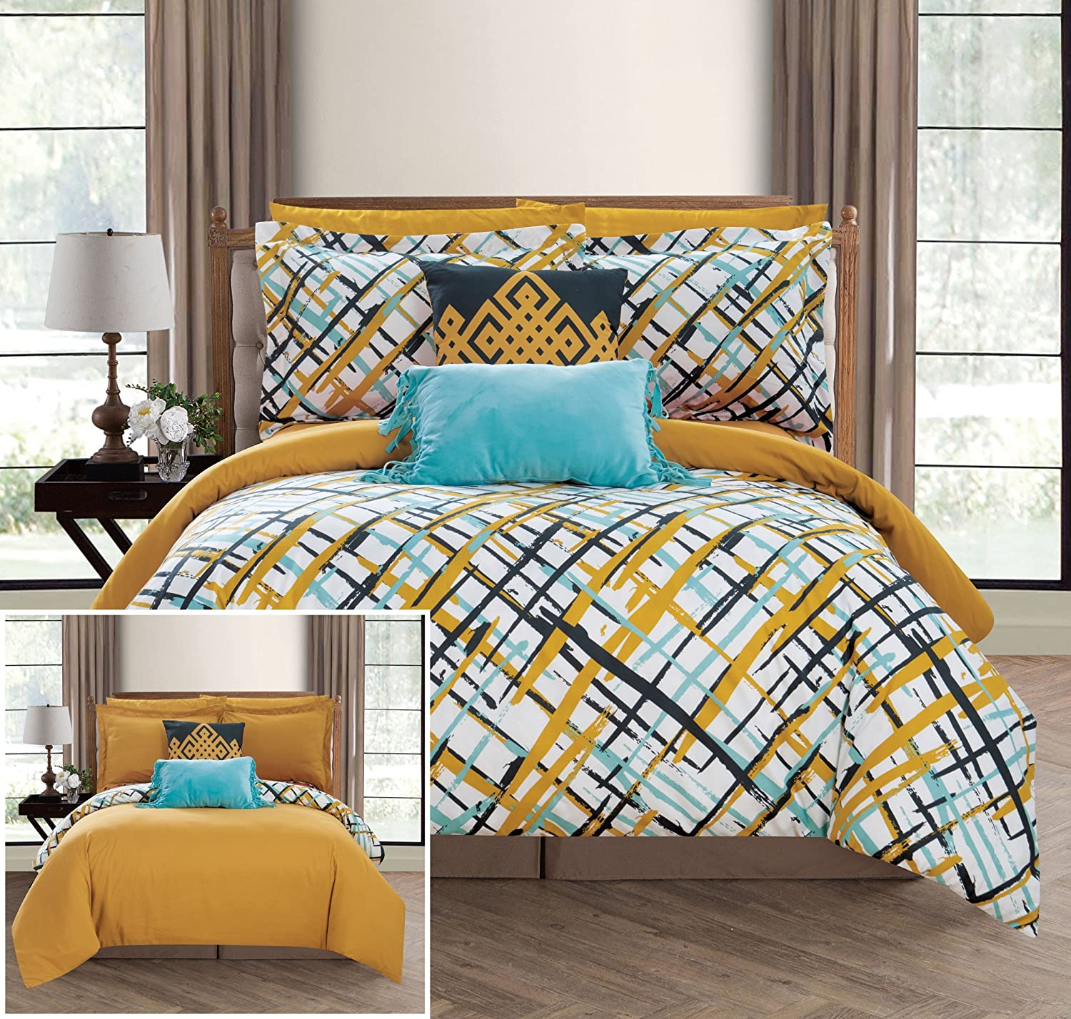 Chic Home Abstract 7 Piece Reversible Comforter Print Design Bed in a Bag-Sheet Set Decorative Pillows Shams Included/XL Size, Twin Gold