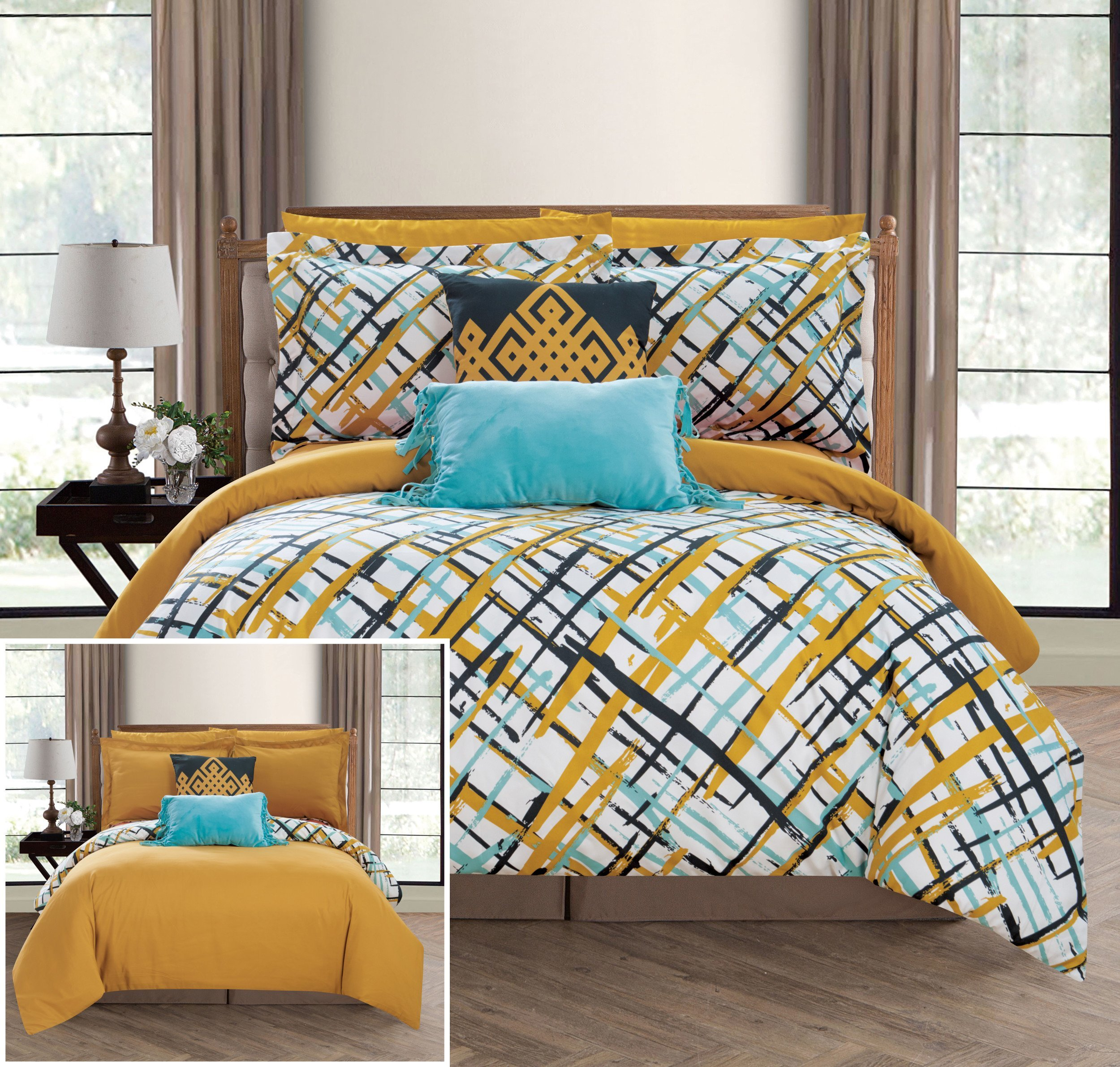 Chic Home Abstract 7 Piece Reversible Comforter Print Design Bed in a Bag-Sheet Set Decorative Pillows Shams Included/XL Size, Twin, Gold