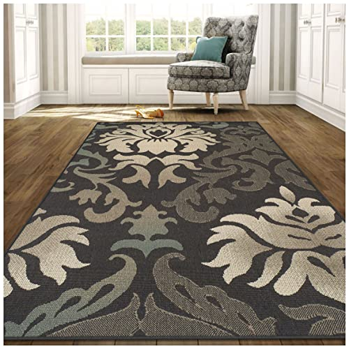 Superior Lowell Collection 5 x 8 Area Rug, Indoor Outdoor Rug with Jute Backing, Durable and Beautiful Woven Structure, Grey, Beige, and Teal Floral Damask Pattern