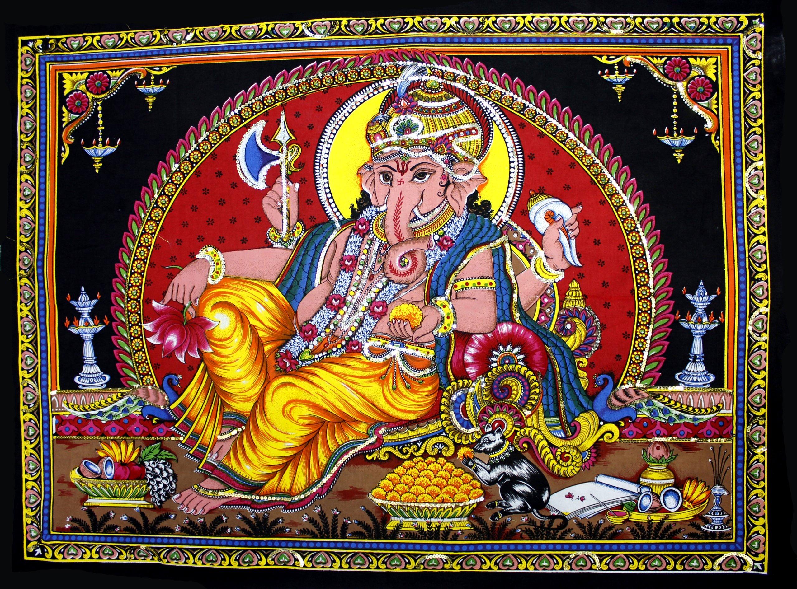 Cotton Canvas Lord Ganesh / Ganesha / Ganpati Yoga 22'' X 16'' Tapestry (Small)