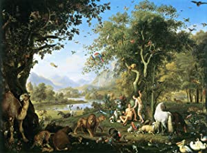 Wenzel, Peter - Adam and Eve in The Garden of Eden Vivid Imagery Laminated Poster Print-20 Inch by 30 Inch Laminated Poster With Bright Colors And Vivid Imagery