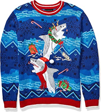 Blizzard Bay Mens Caroling Sharks Ugly Christmas Sweater Sweater