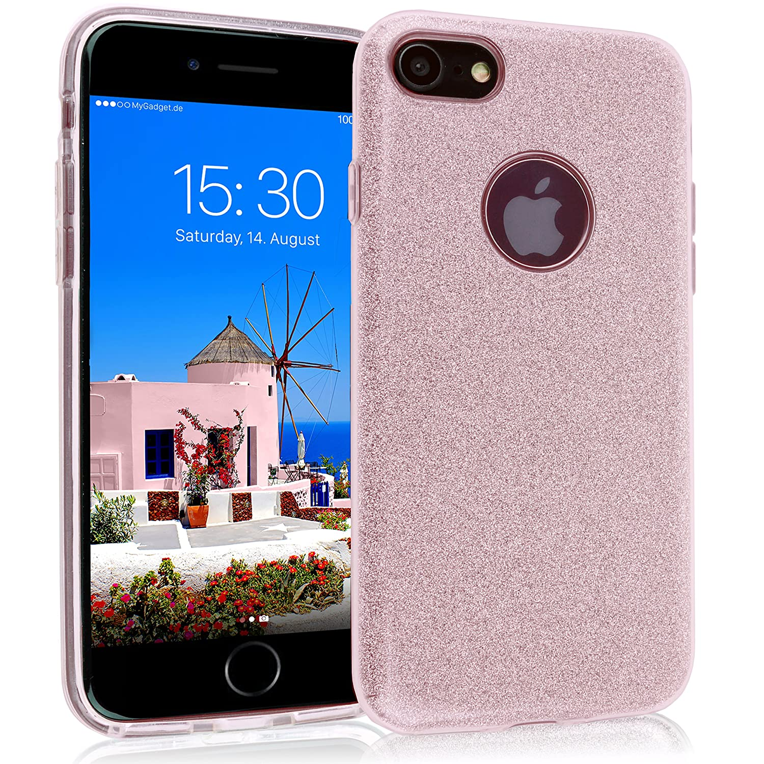 MyGadget Funda Dura de 3 Capas [Glitter Case Brillante] para Apple iPhone 7/8 - Suave Carcasa Externa en Silicona TPU y Hard Case PC Interna - Rosa