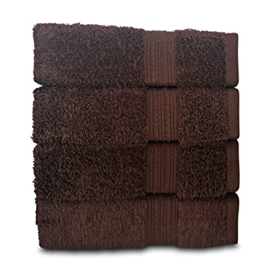 Goza Towels Cotton Hand Towels, 16 by 28 inch (4 Pack) (Dark Brown)