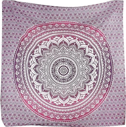 Tradicional tapiz de mandala indio, hippie, para colgar en la pared, colcha de algodón bohemio., tela, morado y rosa, Queen(84x90 Inches)(215x230 Cm): Amazon.es: Hogar