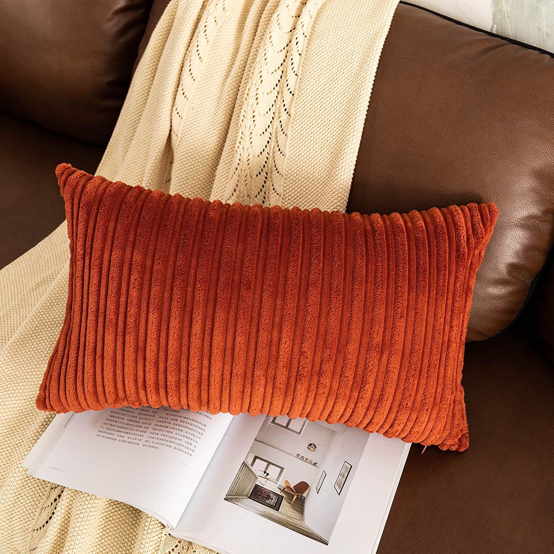 UGASA Decor Pillow Covers Velvet Cushion Case for Lumbar, 1 Pieces, 12x20-inch (30x50cm), Burnt Brick