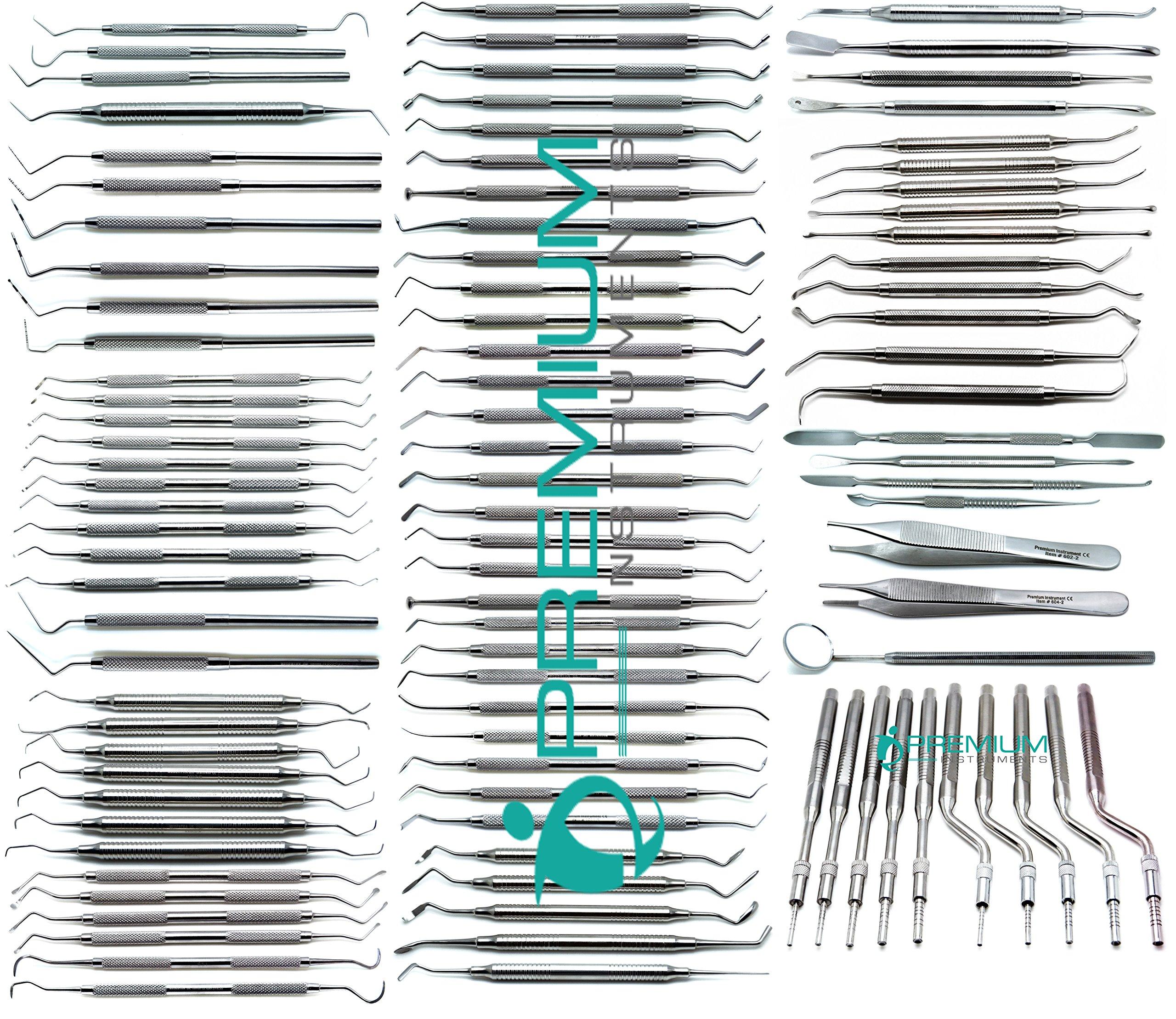 Dental Student Examination Explorers, Curettes, Osteotomes, Sinus Lift, Probes, Excavators, Scalers, Filling, Periosteals, Tweezers Instruments 100 Pcs